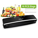 Vacuum Sealer Machine, Slaouwo Automatic Vacuum Packing Machine, Compact Food Sealer for Food Saver Fresh Preservation, Dry & Moist Food Modes, Patented Cutter, Roll Vacuum Bags