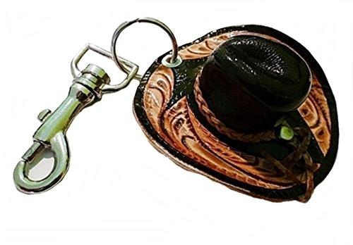 Schlüsselanhänger Schlüsselring mit Karabiner Cowboyhut echt Leder Handarbeit, Braun, 6,8 x 6 cm