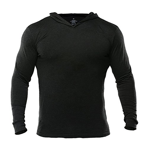 Muscle Alive Bodybuilding Long-Sleeve Hoodie Casual Sweatshirts Stretchy Cotton Black Plain Color Size 2XL