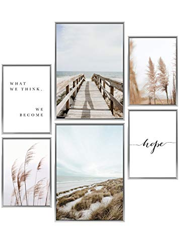 Heimlich® Premium Poster Set | Stilvolles Set mit passenden Bilder als Wohnzimmer Deko | 2 x DIN A3 & 4 x DIN A4 - ca. 30x42 & 21x30 | Bilderrahmen Aluminium Silber » Dünen Strand Meer «