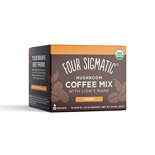 Mushroom Coffee by Four Sigmatic, Organic and Fair Trade Instant Coffee with Lions Mane, Chaga, & Mushroom Powder, Focus & Immune Support, 10 Count