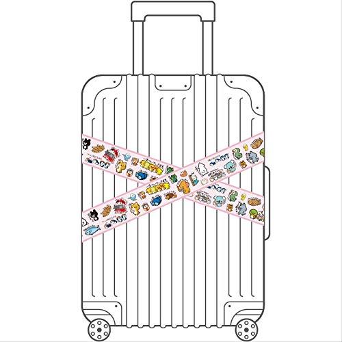 ZAQQ 2 Rosa Cartoon Tier Große Streifen Aufkleber Reisekoffer Gepäck Kühlschrank Wandschrank Türrahmen wasserdichte Aufkleber