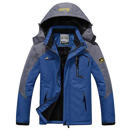 Susclude Men's Fleece Snowboarding Jacket Winter Windproof Mountain Jacket Waterproof Warm Hooded Skiing Jacket with Multi-Pockets Cow Blue L