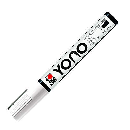 Marabu 12400102070 - YONO Marker, Weiß 070, vielseitiger Acrylstift mit japanischer Keilspitze 0,5 - 5 mm, wasserbasiert, lichtecht und wasserfest, für nahezu alle Untergründe