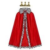GUOQUN-SHOP Children King Disfraz Rojo Velvet Capas con Capas con Traje de Corona Set para niños Halloween Prince Cosplay Party Outfit Accessories Set