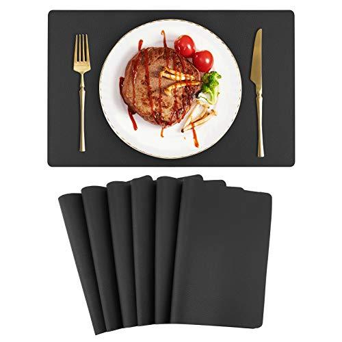 Auxtun Tischset PU Leder 6er Set 42x30 Platzset Wasserdicht Tischdecken Lederoptik Abwischbar Schwarz für Hause Küche Restaurant und Hotel