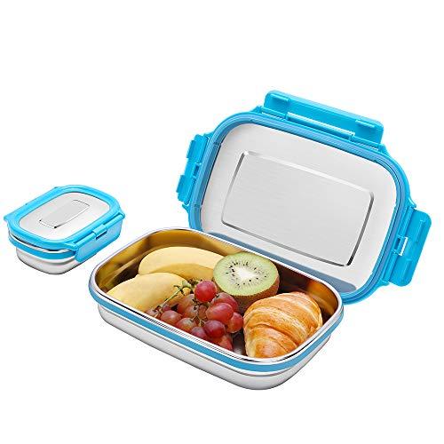 G.a HOMEFAVOR Caja de Almuerzo Fiambrera Acero Inoxidable Bento de Comida Contenedor de Alimentos para Niños o Adultos 2 Piezas, 180ml + 950ml, Azul