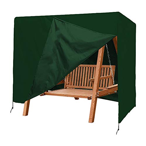 Patio Swing Cover, Lightweight & Durable 420D Oxford Waterproof UV Resistant 3 Triple Seater Garden Hammock Glider Cover,Green