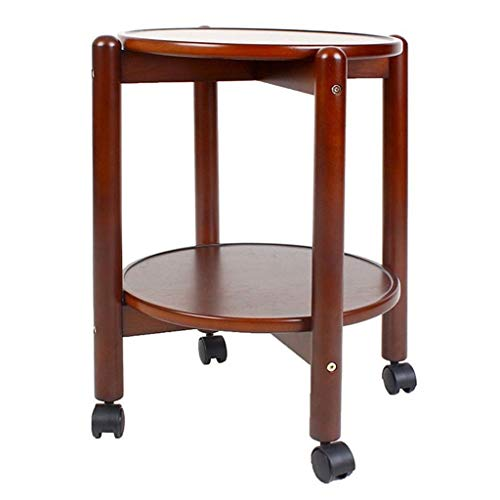 NYKK Coffee Tables Sofa Side Table Round Wooden Furniture Living Room Small Coffee Table Dining Table 2 Layer with Caster End Table Sofa Table
