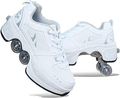 Kids Kick Rollers Zapatos, Patines de Patas de Patas voladables retráctiles, Zapatos Ajustables multifuncionales con Ruedas, Patines en línea Deportes (Color : B, Size : 34)