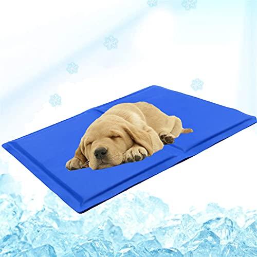 Screen magnifier Alfombrilla de Refrigeración para Mascotas Portátil y Lavable,Plegable,Impermeable,Suave,cómoda,de PVC,Almohadilla de Gel Frío para Mascotas para Perrera/sofá/Cama/Suelo,Blue,L
