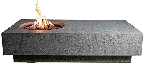 Elementi Metropolis Table Cast Concrete Propane Fire Table, Outdoor Fire Pit Fire Table/Patio Furniture, 45,000 BTU Auto-Ignition, Stainless Steel Burner, Lava Rock Included
