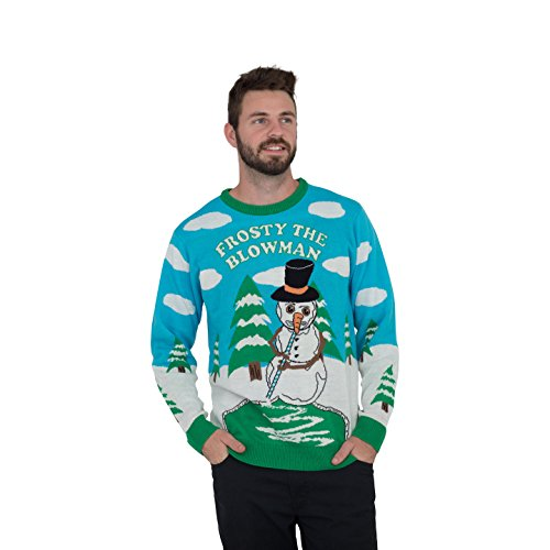 Frosty The Blowman Snowman Ugly Christmas Sweater (Adult Large)