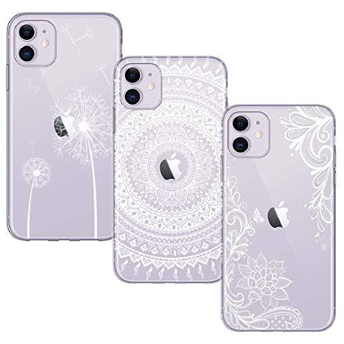 BAOWEI [3-Stück] iPhone 11 Hülle, Transparent Weiche Durchsichtig Dünn Handyhülle mit Süße Muster Silikon Klar TPU Stoßfest Schutzhülle Case für iPhone 11 6.1'' - Weiße Blume, Mandala & Löwenzahn