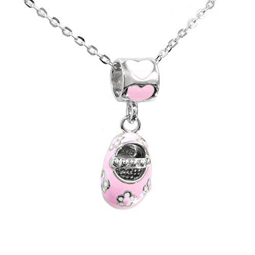 Rosa esmalte Bebé niña zapatos Dangle Bead Charm colgante collar plata de...
