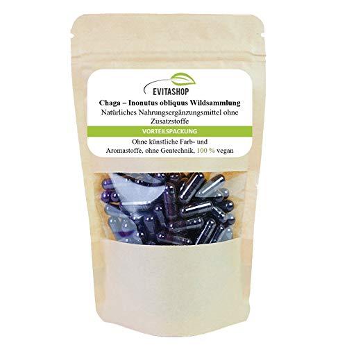 Chaga Kapseln   Wildsammlung,(Inonotus obliquus)   3 Packungen = 180 x 300 mg   Ohne Zusatzstoffe   100% vegan   Hochdosiertes Vitalpilz-Pulver (Schiefer Schillerporling)   Hergestellt in Deutschland