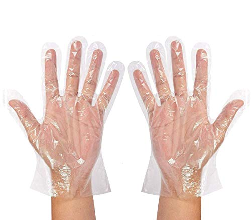 Einweghandschuhe, transparent, Polyethylen, PE-Fäustlinge, für Partys, zum Reinigen und Vorbereiten von Lebensmitteln, 100 Stück