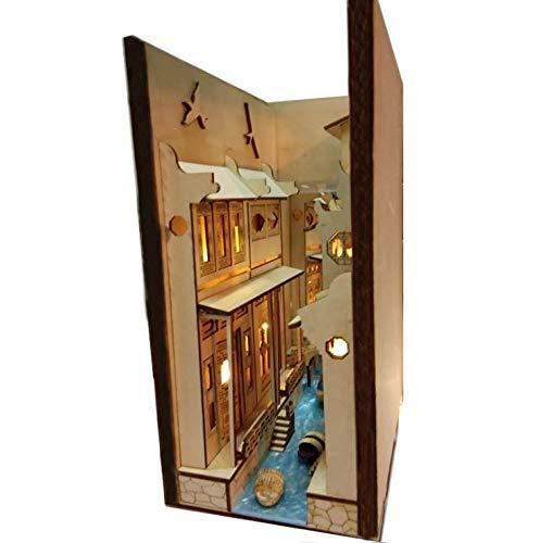 CUHAWUDBA DIY Alley Book Nook Holz Jiangnan Water Town Wuzhen Montage Modell BüCherregal StraaE mit Licht Modellbausatz