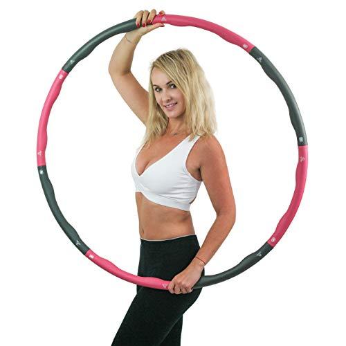 AZPOSS Fitness Hula Hoop Reifen für Erwachsene - Hula-Hoop Gymnastikreifen zum Abnehmen - Mit 0,75 bis 1 kg Gewicht, Maßband, Tasche, Wellenform und 6 + 2 abnehmbare Sektionen