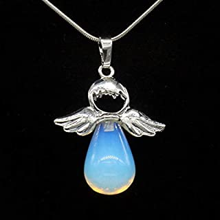 Davitu Kraft-Beads Silver Plated Angel Wing Water Drop Pendant Opalite Opal for Valentine's Day Jewelry