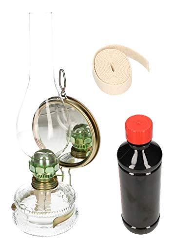 KOTARBAU Öllampe Mit Spiegel & Dochthalter SET Zusätlichem Doch & Petroleum Petroleumlampe 30 cm Höhe Sturmlaterne Glaskolben Tischlampe Gartenlampe