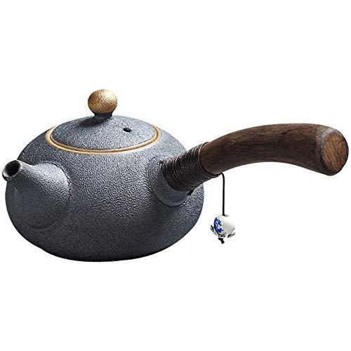 Japón Cerámica tetera lateral mango chino kung fu té té conjunto de té vajilla 220ml-Negro