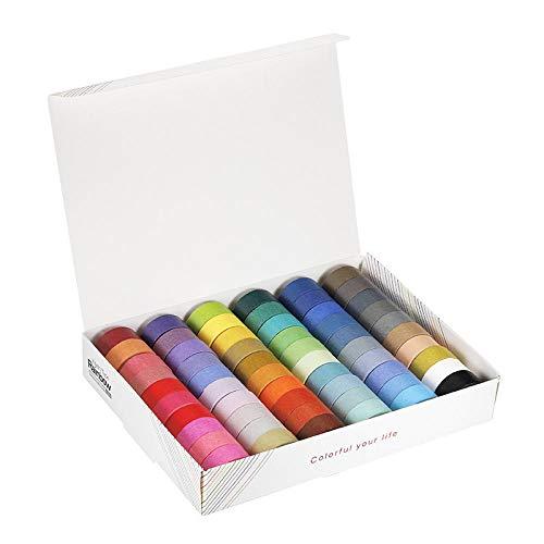 60 rotoli di nastri adesivi Washi colorati nastri decorativi colorati fai-da-te per artigianato scrapbook regali ordito carino nastro adesivo forniture per giornali