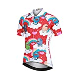 LSHEL Camiseta de Ciclismo para Niños Maillot Bicicleta con Mangas Cortas, Monstruo en el Arcoiris, 8-9años/EU: M(Etiqueta: L)
