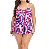 Conjunto Bikini Sujetador Bragas Bañador 2 Piezas, Las mujeres más del tamaño de Tankini del traje de baño de 2 piezas cabestro bikini traje de baño determinado Torsión frontal Parte superior con pant