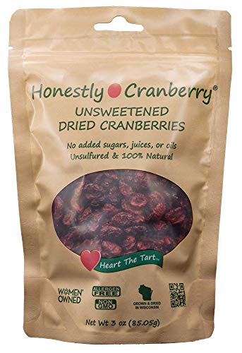Honestly Cranberry - Unsweetened Dried Cranberries - no added sugars, juices, or oils (3 oz)