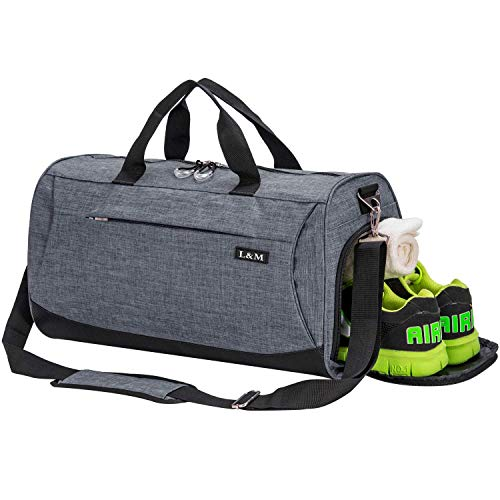 marcello Sporttasche Reisetasche mit Schuhfach & Nassfach Wasserdicht Fitnesstasche Trainingstasche Gym Sport Tasche Handgepäck für Männer und Frauen (Grey, Medium)