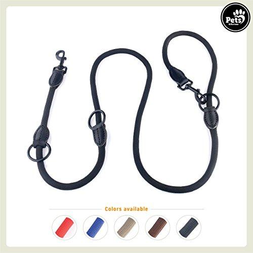 Pets&Partner® Hundeleine aus Nylon/Doppelleine/geflochten in verschiedenen Farben für mittelgroße bis große Hunde farblich passend zu Halsband und Geschirr, Schwarz mit schwarzen Karabinern