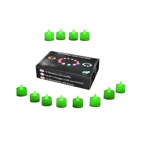 12 Candele a Batteria Lumini LED Verdi - Tea Lights senza Fiamma per Camera, Compleanno, Feste, Decorazioni di PK Green