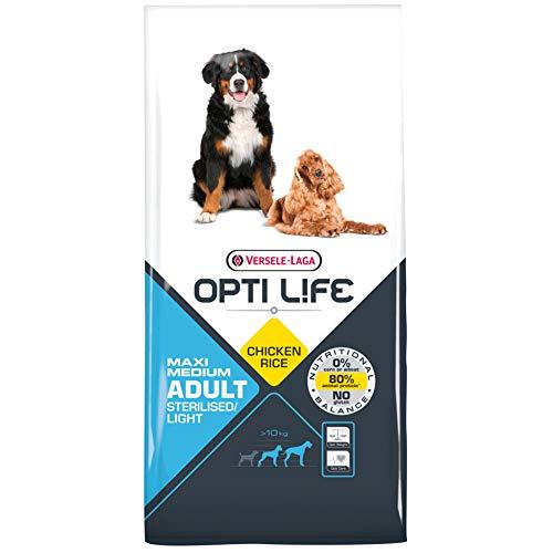 Global Pienso para Perros OPTI Life Adult Light Medium y Maxi con Pollo y arroz   Pienso para Perros medianos y Grandes Versele Laga   Comida para Perros 12,5 kgs