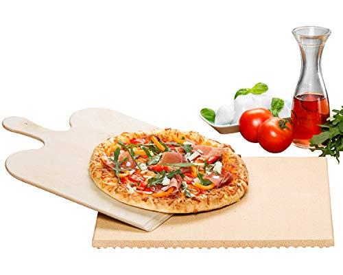 ROMMELSBACHER Pizza-/Brotbackstein Set PS 16 - Stein aus natürlicher Schamotte, lebensmittelecht, 35 x 35 cm, inkl. Holzschaufel