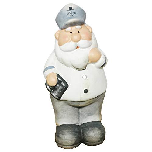 Land-huis-winkel zeemman deco figuur maritiem zeevaarder kapitein kap keramiek matrose decofiguur Met verrekijker.