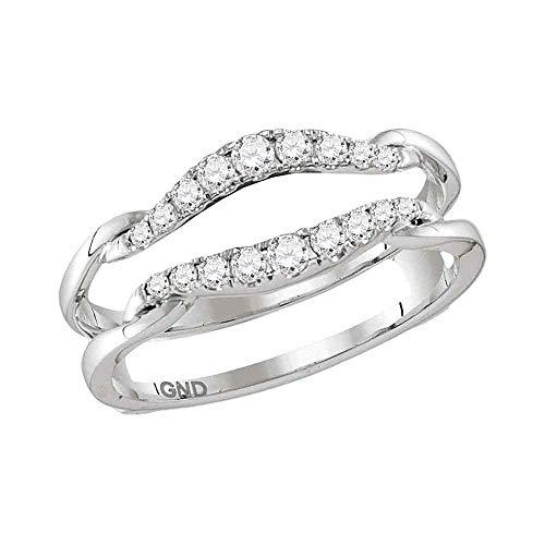 Anillo de oro blanco de 14 quilates para hombre y mujer con diamante redondo para proteger el solitario de 1/3 quilates para mujer