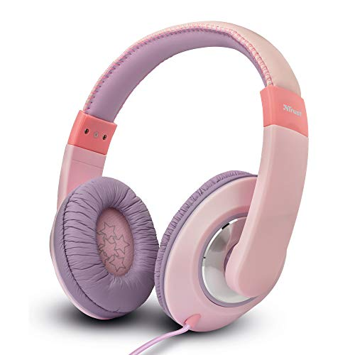 Trust Mobile Sonin Verkabelte Over-Ear-Kopfhörer für Kinder (Kindersichere Kopfhörer, mit Lautstärkebegrenzung, für Kinder ab 4 Jahren) Rosa, one Size