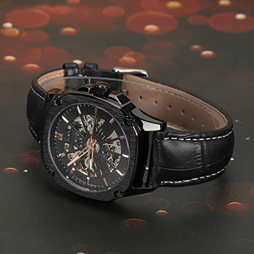 Montre-bracelet étanche pour hommes de mode, montre mécanique pour hommes, pour la famille de sports d'amis en plein air(Black face rose gold nail black belt)