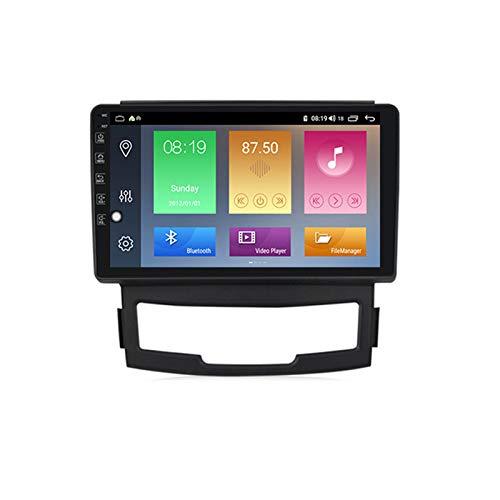 ADMLZQQ Radio de Coche Navegación GPS, 9 Pulgadas 2 DIN para SsangYong Korando 2012 con Bluetooth Carplay DSP SWC RDS AUX Soporte USB Control Volante Cámara Marcha atrás Monitor reposacabezas,M400