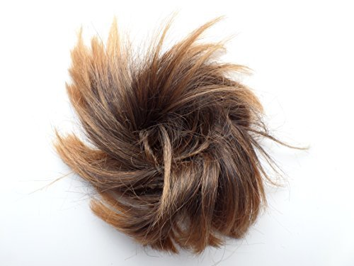 By Silverliningz Short Feather CHOPPY hair bun scrunchie wrap DARK GINGER TONAL