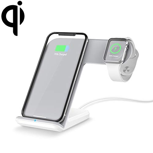 Fashion horloges Dfch F11 verticale magnetische Draadloze oplader for QI opladen Standard Mobiele telefoons en Apple Watch Series (zwart). (Color : White)