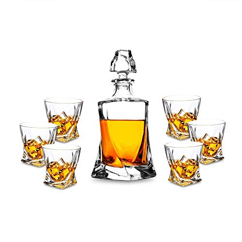 KANARS 7-teiliges Whisky Karaffe Set, Bleifrei Kristallgläser, 800ml Whiskey Dekanter mit 6x 300ml Gläser, Hochwertig, Schöne Geschenk Box