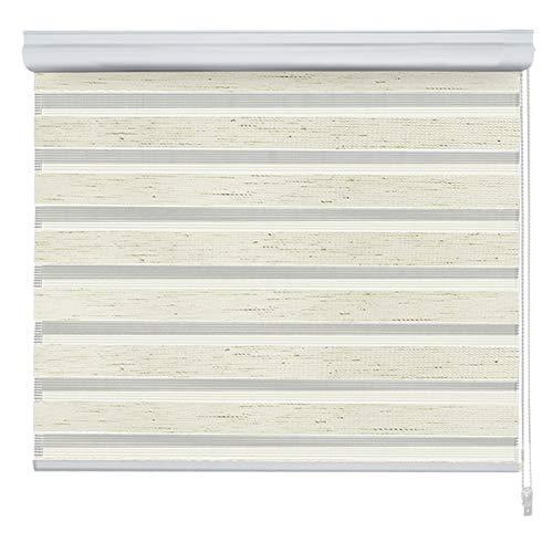 casa pura Doppelrollo VarioLight mit Kassette | Duo-Rollo für Fenster flexibel einstellbar - Blickdicht oder transparent | Rollo Größe & Farbe wählbar (80 cm Breite x 150 cm Länge) | Elfenbein