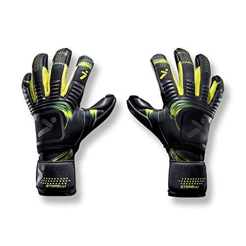 Storelli Silencer Menace Goalkeeper Gloves   Soccer Goalie Gloves with Finger Spines   Enhanced Finger and Hand Protection   Black & Yellow   Size 8