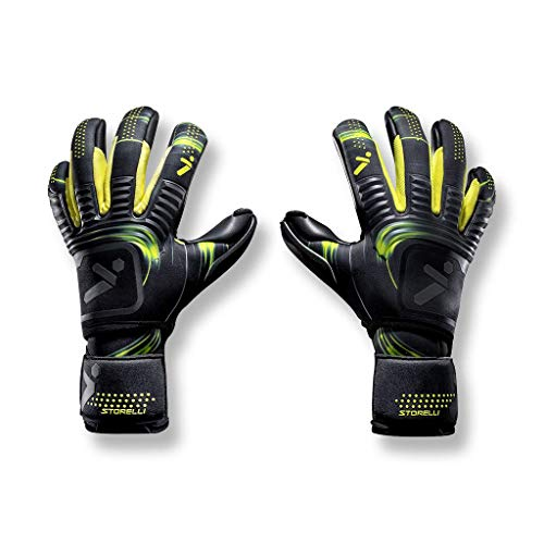 Storelli Silencer Menace Goalkeeper Gloves | Soccer Goalie Gloves with Finger Spines | Enhanced Finger and Hand Protection | Black & Yellow | Size 8