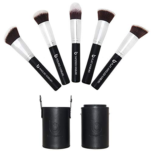 Kabuki Makeup Brush Set - Beauty Junkees 5pc Professional Face Make Up Brushes with Case, Foundation, Blush, Bronzer Contour, Concealer, Mineral Powder Cosmetics, Affordable Cruelty Free