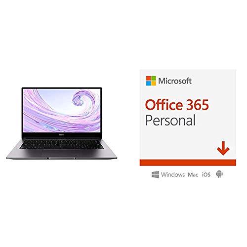HUAWEI MateBook D 14'' Laptop, FullView 1080P FHD Ultrabook PC (AMD Ryzen 5 3500U, 8GB RAM, 512GB SSD, Windows 10 Home) + Microsoft Office 365 Personal, 1 Anno PC/Mac, Codice d'attivazione via Email
