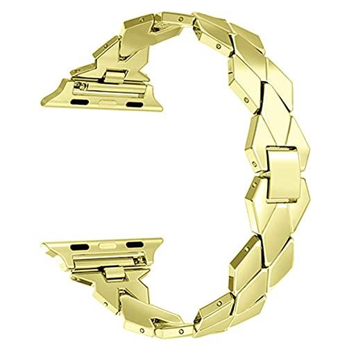 ZYOONG Correa de reloj de acero inoxidable para reloj SE 6, 5, 4, 44 mm, 40 mm, metal para relojes iwatch1/2/3, 38 mm, 42 mm (color de la correa: oro, ancho de la correa: 38 y 40 mm)