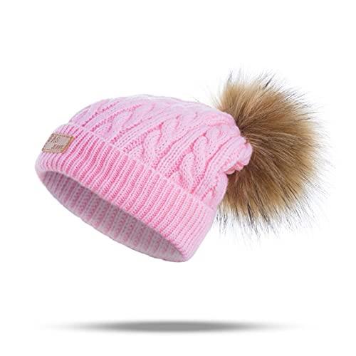 Gorros para bebés, pompón, Gorro de Invierno para niños, Gorro de Punto Bonito para niñas, niños, Gorro Informal de Color sólido para niñas, Gorros para bebés-Pink 1